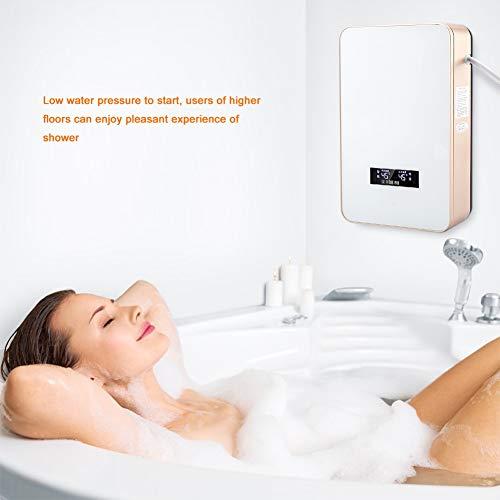 Calentador de agua caliente Calentador de agua sin tanque 8500W Pantalla LED eléctrica de alta precisión de alta precisión para baño(white)