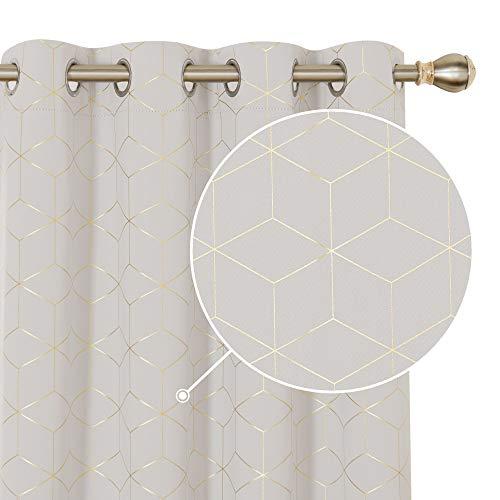 Deconovo Vorhang Wohnzimmer Modern, Gardinen Blickdicht mit Ösen, Wärmeisolierende Vorhänge für Wohnzimmer, 138x132 cm(HöhexBreite), Creme, 2er Set
