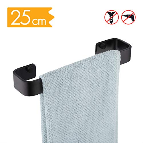 KES Kitchen Towel Bar 10-Inch Square No Drill Aluminum Bathroom Towel Holder Rustproof Wall Mount Shoes Rack Matte Black Finish, A4300S25DG-BK