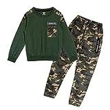 Conjunto de chándal de Camuflaje para niños, Pantalones Cargo de 2 Piezas para niños + Sudadera de Manga Larga, Verde, 140