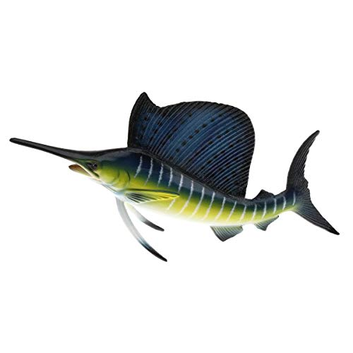 Gresorth 6 inch 3D Ornament Fish Artificial Fake Plastic Sailfish Model Dispaly Artificial Marine Animals Decoration Early Education Props