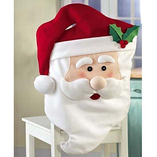 1pièce de Père Noël Housse de dossier de chaise pour chaise de table Décor Maison Fête salle à manger Ornement