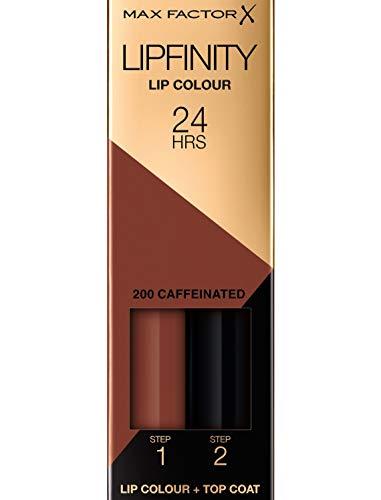 Max Factor Lipfinity Lip Colour Caffeinated 200 – Kussechter Lippenstift mit 24h Halt ohne auszutrocknen, intensiver Farbabgabe & präzisem Applikator - mit intensiv pflegendem Gloss-Top Coat