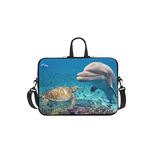 InterestPrint Sea Ocean Animal Laptop Sleeve Case Bag, Turtle Dolphin Shoulder Strap Laptop Sleeve Notebook Computer Bag 13.3 Inch for MacBook Pro Air HP Dell