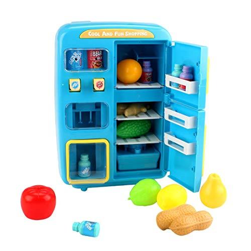 K9CK Nevera de Juguete para Cocina Infantil con 32 Piezas Utensilios Cocina Juguete Refrigerador para Niño 3 años