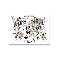 動物の世界地図アートプリント保育園ポスターキッズギフト漫画キャンバス絵画北欧の家の装飾リビングルームの壁の写真50x70cmフレームなし