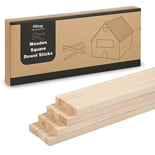 Pllieay 20 piezas 25 x 1 cm varillas cuadradas de madera sin...