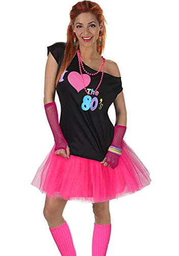 Fun Daisy Clothing Damen I Love The 80er Jahre T-Shirt 80er Jahre Outfit Zubehör, Hot Pink - UK 16-18 / L-XL