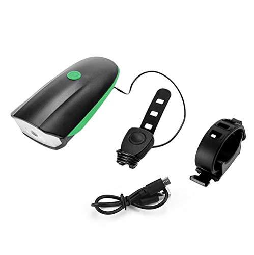 BFVSNGT Wiederaufladbare LED-Fahrrad-Licht-Satz, 240 Lumen, mit Tweeter, IPX5 Wasserdicht, USB-Lade (Color : Green)