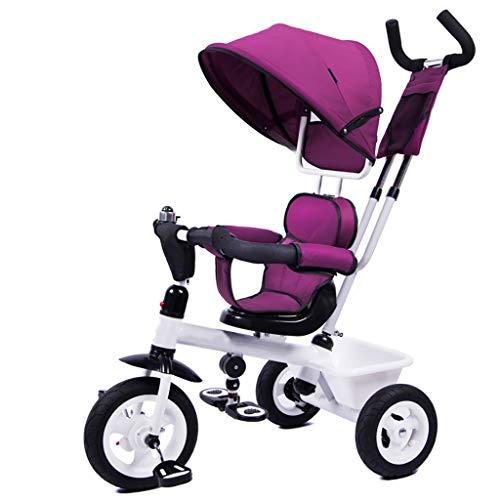 GCXLFJ Triciclo Bebe Niño Plegable Triciclo,1-6 Años De Edad Infantil 4 En 1 Sombrilla Triciclos ,niñas Regalo De Cumpleaños,3 Colores,60x70x104cm (Color : Purple)