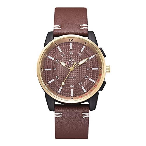 Reloj de cuarzo - Hombres Casual Elegante Cuarzo Analógico Correa de Cuero PU Reloj de Negocios Reloj de Pulsera (Marrón Oscuro)
