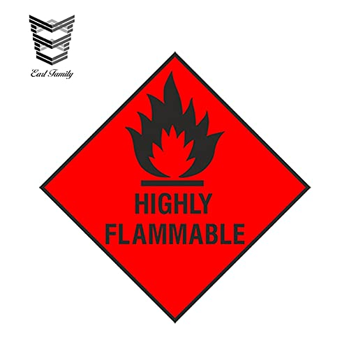 FAFPAY Sticker de Carro 13 cm x 13 cm Estilo de Coche Altamente INFLAMABLE Pegatina de Advertencia de Coche de Seguridad para Armario portátil Nevera Parachoques Impermeable calcomanía