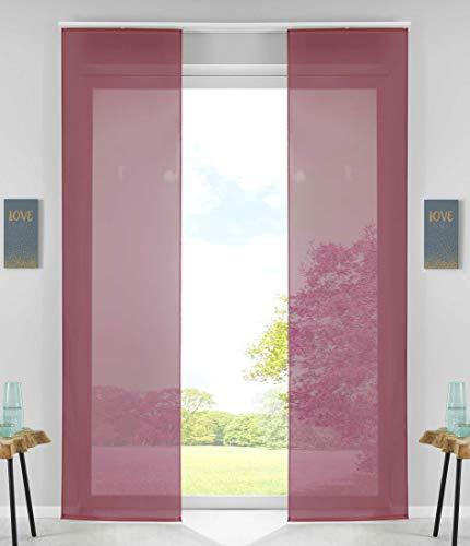 2er Set Schiebegardinen Flächenvorhänge Vorhang Gardine Schiebe HxB 245x60 cm Bordeaux Komplett mit Paneelwagen Beschwerungsstange, 85589N2