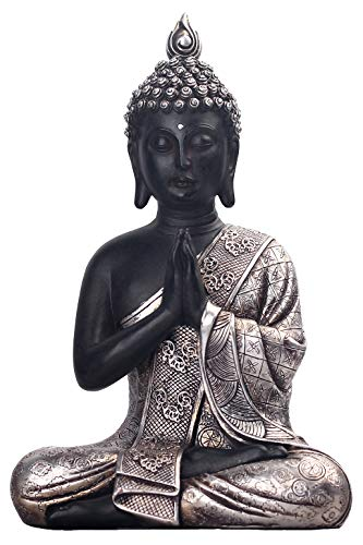 JORAE Seated Buddha Statue Buddhism Thai Meditating Home and Garden Decorative Sculpture Praying Collectibles Figurines, 9.5 Inches, Polyresin