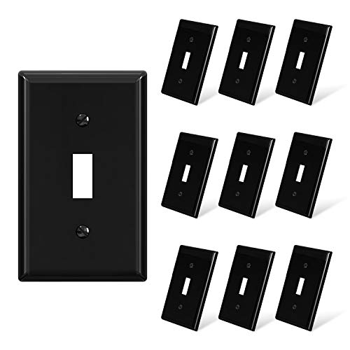 ELEGRP Toggle Light Switch Wall Plate, 1-Gang Standard Size Switch Covers, Unbreakable Polycarbonate Replacement Faceplates Covers, UL Listed, Color-matched Screws Included (10 Pack, Glossy Black)