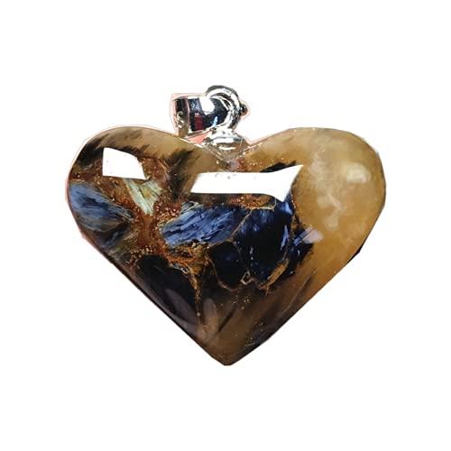 Natural Pietersite colgante azul en forma de corazón Pietersita piedra 925 joyería de plata para mujeres hombres 22x7mm cuentas de cristal plata esterlina energía suerte piedra preciosa
