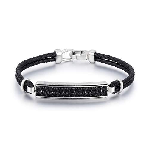 GIN EXQUISITE   Acero inoxidable plateado con piedras negras y cuero trenzado para hombre en plata   Joyero Elite   Adecuado para regalo   21 cm