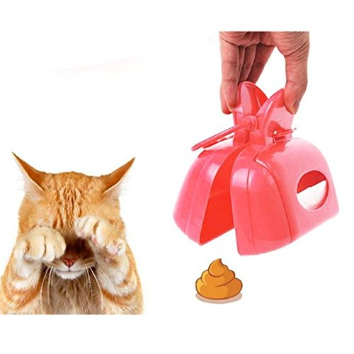 ABBY Pet Chiens Chats Ramasse-crottes Pelles Ramasse en Plastique Portable Pooper Scooper pour Nettoyer Excréments/Rose