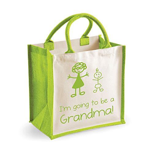 Medium Sac de jute I'm Going To Be A mamie Vert Sac fête des mères Nouvelle Maman anniversaire Cadeau de Noël
