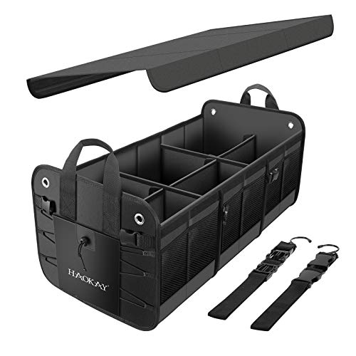 HAOKAY Premium Car Trunk Organizer with Lid, Multi Compartments Collapsible Portable Car Trunk Storage Organizer, 3 compartments Cargo Storage with Straps. (3 COMPARTMANTS, Black)