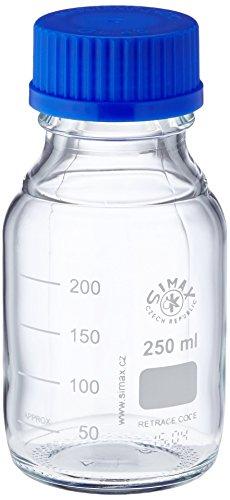 neoLab E-1430 Laborflaschen, GL 45, 250 mL, Iso-Gewinde, Kappe + Ausgießring (10-er Pack)