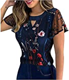Fashion Embroidery Short Sleeve Lace Blouses Lotus sleeve, Summer Women Sexy T-shirt Tops Casual Hollow Slim Crewneck Crop Tops