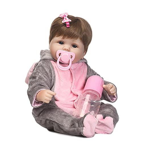 Brastoy Boneca Bebê Reborn Silicone Menina Olhos Azuis Elefanta 48cm Pode Dar Banho