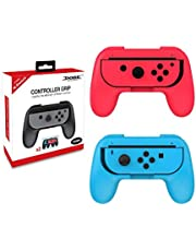 Controller Grip for Nintendo Switch NS Left and Right Joy-Con Controller Gamepad Handle Stand Holder Protector Red and Blue 2pcs