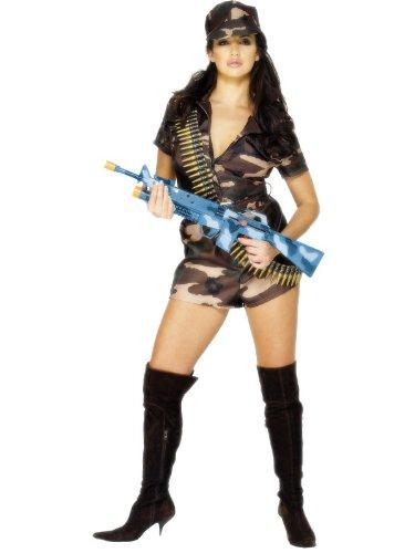 Smiffys Costume ragazza dell'esercito sexy, mimetico, con tutina, cintura e cappello