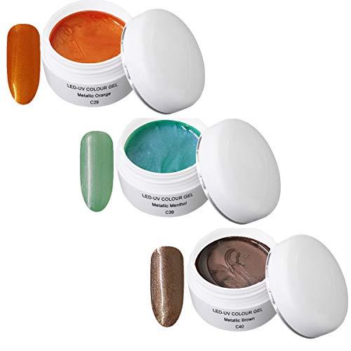 UV Gel coloré Metallic Set 7 - UV Colour metallic Gel - (3x5ml) C29 Metallic Orange 5ml, C39 Metallic Menthol 5ml, C40 Metallic Brown 5ml