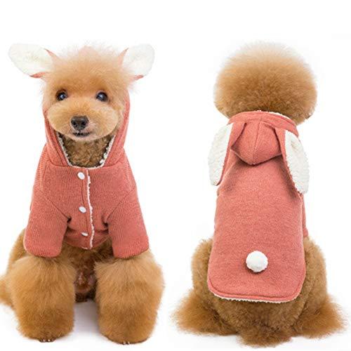 XMCWZJ Hunde-Bekleidung Herbst und Winter Pet Supplies Big Ohr-Kaninchen Plus Samt Pet Baumwollmantel Teddy Spitz Hunde-Bekleidung,Rosa,M