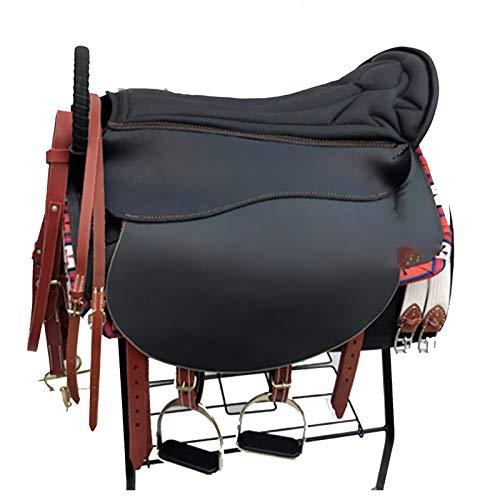 XMXM Silla de montar a caballo silla de montar silla de carreras Western Saddle Habilidades Sillín integral de apoyo de la mano Sillín Mañana Ejercicio Sillín de montar a caballo Equipo negro
