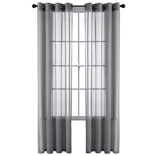 GoodGram 2 Pack Ultra Luxurious High Woven Elegant Sheer Grommet Curtain Panels - Assorted Sizes & Colors (Gray, 90 in. Long)