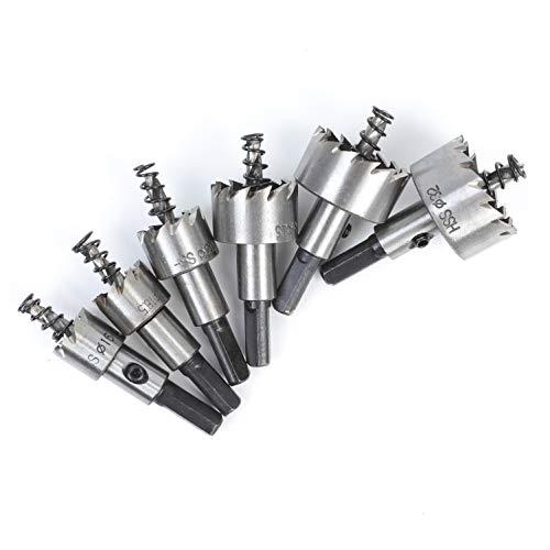 EUPIONEER Bohrer-Set, 6 Stück, 16-32mmLochsägen-Bit-Satz mit HSS-Hartmetallpitzen, Edelstahl-Werkzeug, Schnellarbeitsstahl, Metall-LegierungBohrloch Säge Set