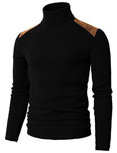 H2H Mens Slim Fit Suede Shoulder Patched Basic Turtleneck Pull Over Sweater Black US XL/Asia 2XL (CMTTL099)