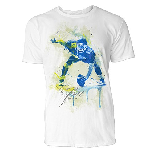 American Football Spieler Sinus Art Herren T Shirt (Weiss) Crewneck Tee with Frontartwork