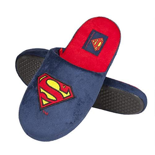 soxo Herren Hausschuhe Männer Pantoffeln Lustige DC Comics Superman Lizenziertes Produkt Gute Qualität, Blau, 43/44 EU