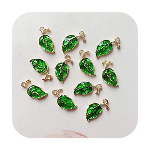 Buttons Lote de 10 botones de aleación de oro y verde con diseño de hojas decorativas, joyería para el cabello, accesorios hechos a mano