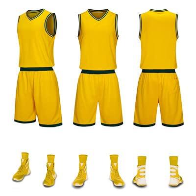 DXFWZQ Set de Ropa de Baloncesto para niños Adultos Quick Transpirable Botas de luz Camisetas de Baloncesto(XXXL, Yellow)