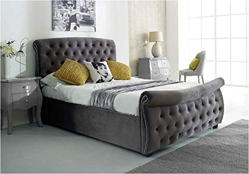 Willa Arlo Interiors King Size Silver Lucinda Upholstered Ottoman Bed