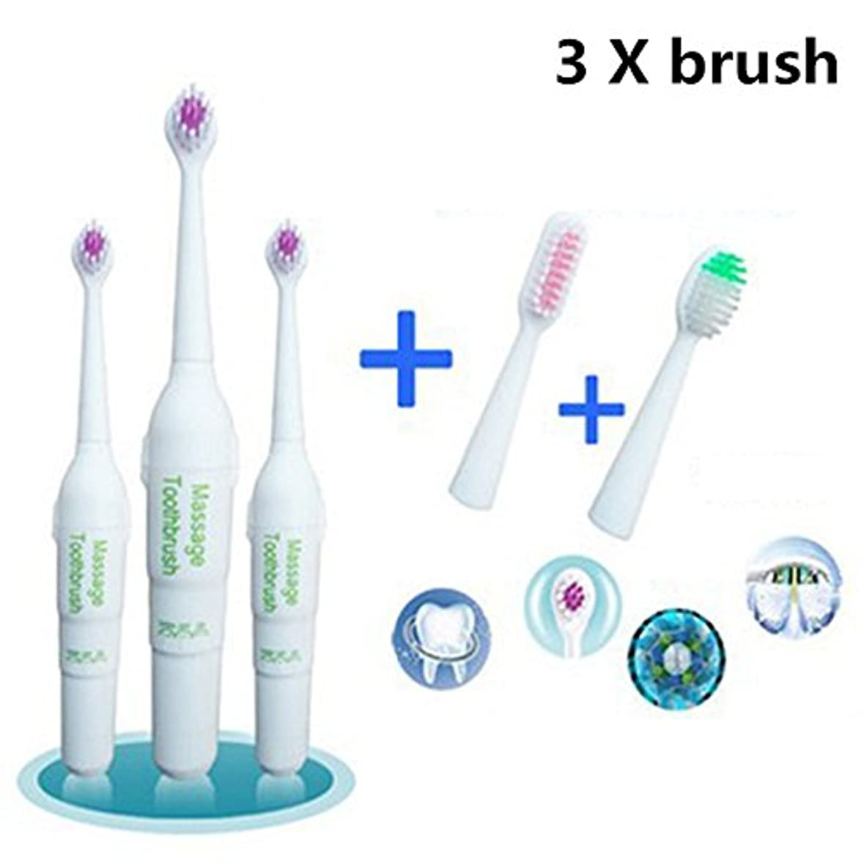 コンパニオン技術話すRaiFu 電動歯ブラシ ロータリー ノンスリップ 防水 2つの余分なヘッドブラシ キッズ 大人