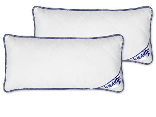 Badenia Bettcomfort Irisette Body Contour Kopfkissen 2er-Set, Microfaser, 40 x 80 cm, weiß / blau