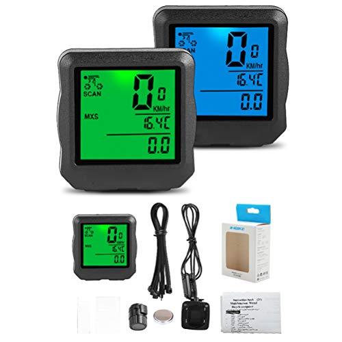 Breale - Cuentakilómetros para bicicleta de montaña, impermeable, con retroiluminación LCD, accesorios,...