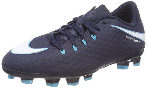 Nike Jr Hypervenom Phelon III FG, Botas de fútbol Unisex niño, Negro (Obsidian/Azul Gamma/Azul Glacial/Blanco 414), 38 EU