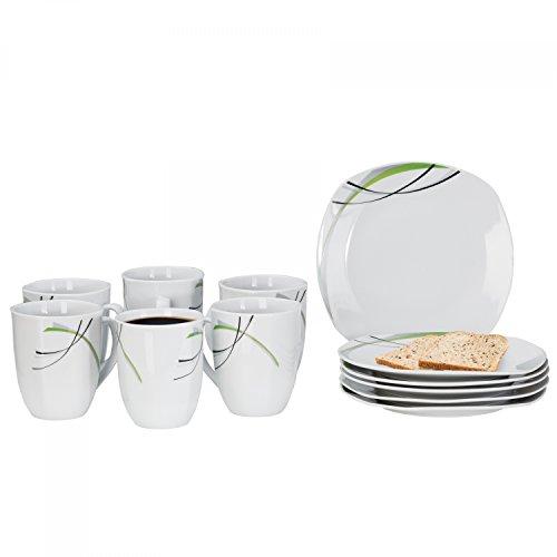 Frühstücksset Donna 12tlg. - 6 Teller á 19cm und 6 Becher á 33cl aus weißem Porzellan mit Linien- Dekor in schwarz, grau und grün - für 6 Personen