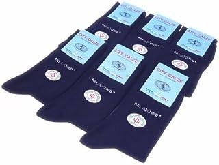 12 Paia Calzini Sanitari in Cotone Caldo Elasticizzato Unisex col. Blu