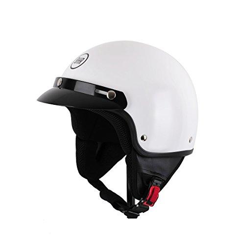BHR 94125 Motorrad Helm Demi-Jet mit Schild 803, Weiß, L