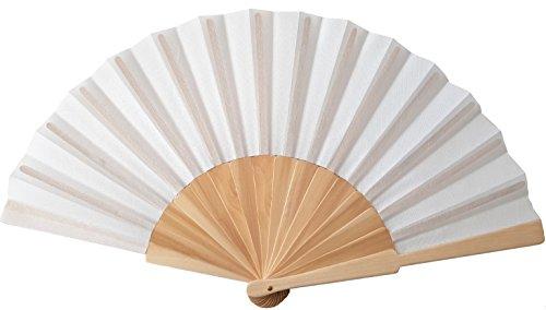 Libetui Weißer Handfächer Stoff mit Holzgriff Fächer weiß Tanzfächer Saunafächer für heiße Sommertage Feste Party Hochzeit Hand Fan Hochzeitfächer Farbe Weiß