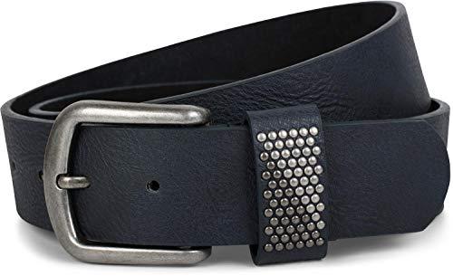 styleBREAKER Gürtel mit zweifarbigen Nieten an der Schlaufe, Nietengürtel, kürzbar, Unisex 03010088, Farbe:Dunkelblau, Größe:100cm