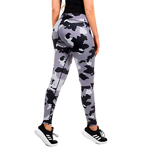 CompressionZ High Waisted Women's Leggings – Compression Pants for Yoga Running Gym & Everyday Fitness (Camo, Small)